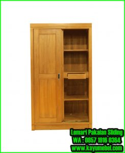 lemari pakaian kayu jati minimalis