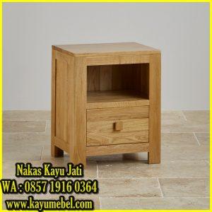 meja kecil samping tempat tidur kayu