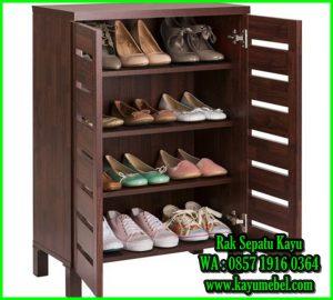 rak sepatu minimalis kayu jati