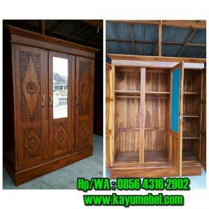 Harga lemari pakaian kayu jati 2 pintu