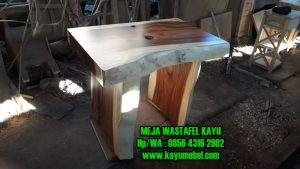 meja wastafel kayu