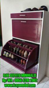 rak sepatu dari kayu minimalis