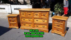 Meja laci kayu minimalis