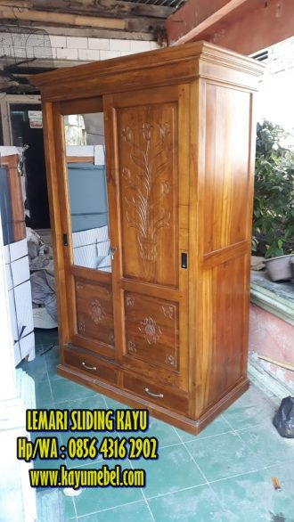 Lemari geser kayu jati harga lemari pintu geser kayu jati
