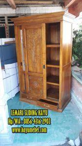 Lemari pintu geser kayu jati